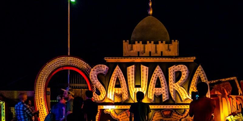 The old Sahara sign at the Neon Boneyard aka the Neon Museum in Las Vegas