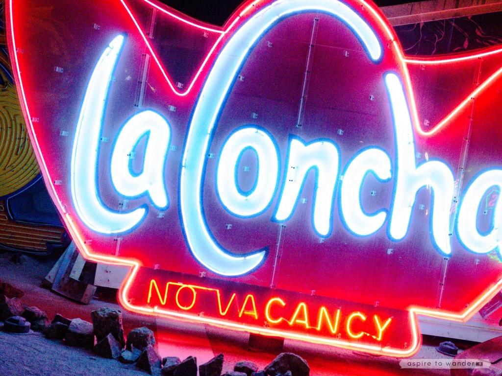 The La Concha sign at the Neon Boneyard aka the Neon Museum in Las Vegas