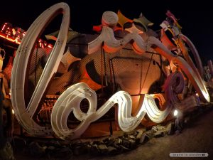"The old Moulin Rouge sign - part of it rearranged to look like ""love"" - at the Neon Boneyard aka the Neon Museum in Las Vegas"