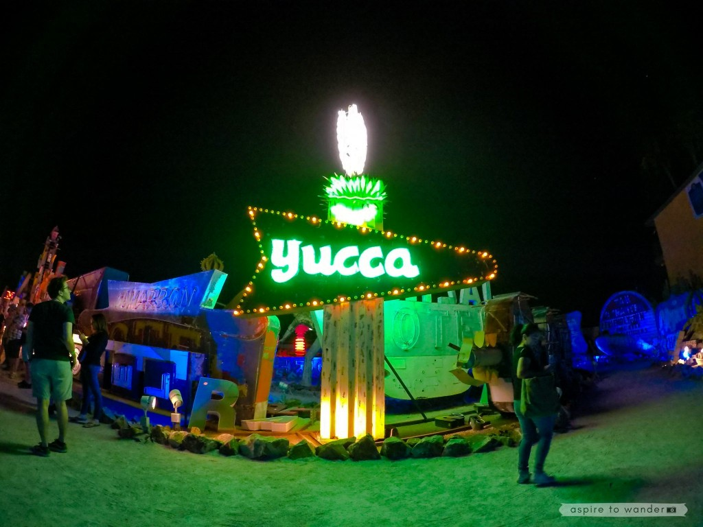 The Yucca sign at the Neon Boneyard aka the Neon Museum in Las Vegas