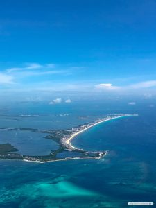 Aerial view of the Cancun Hotel Zone in Mexico