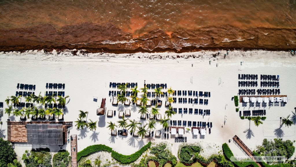 Aerial view of the beach at Royalton Riviera Cancun