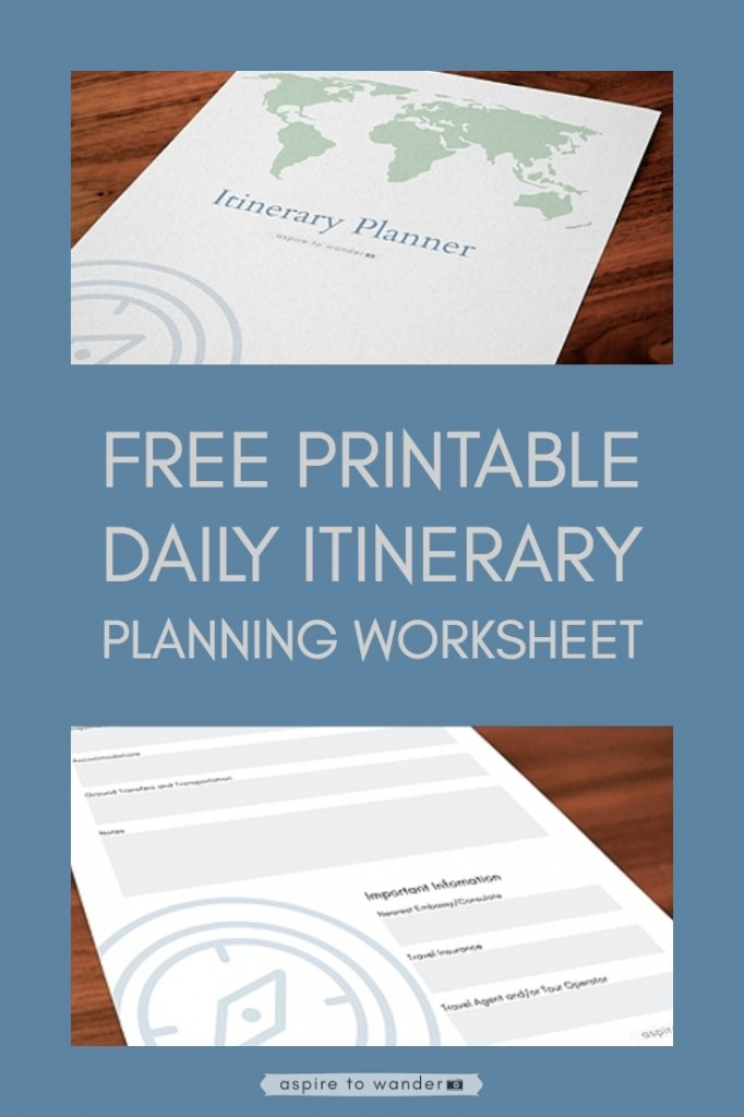 Free Printable Daily Itinerary Planning Worksheet