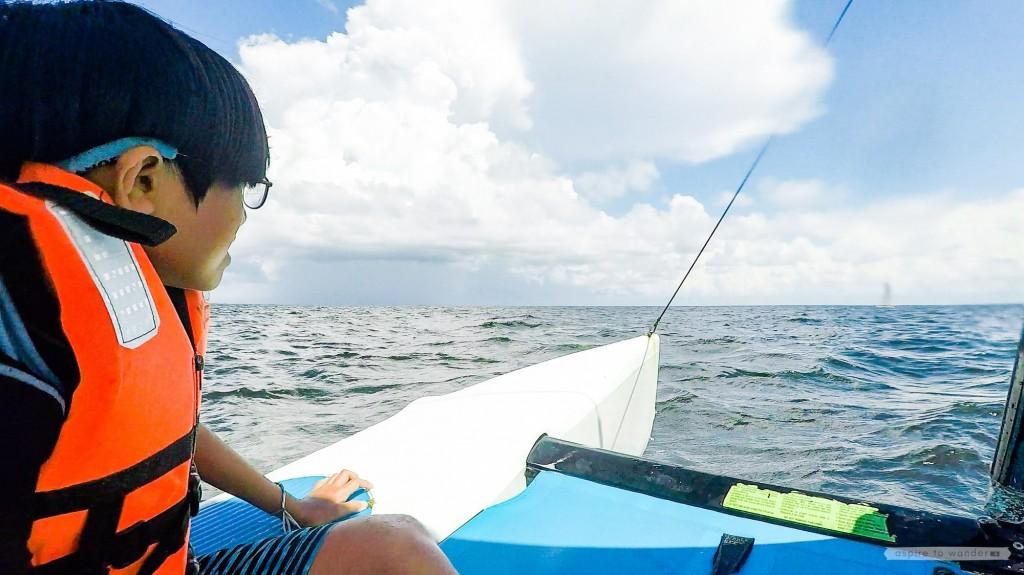 Royalton Riviera Cancun Resort and Spa - riding a hobie cat (catamaran) off the beach