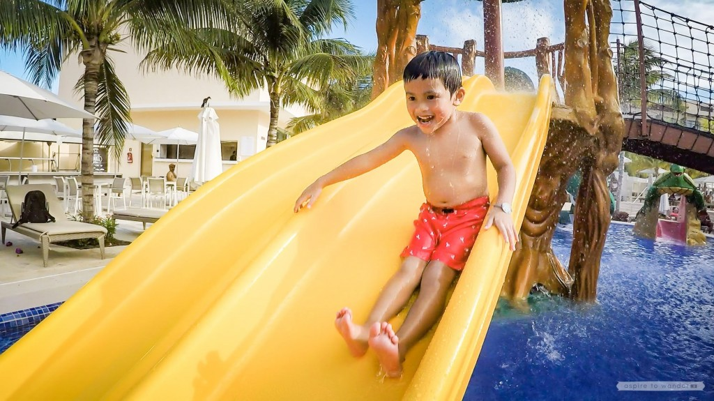 Waterslides and splash pad at the Royalton Riviera Cancun Resort and Spa