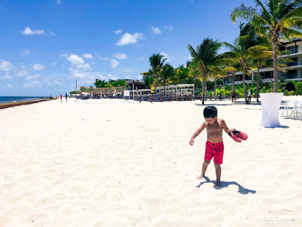 Walking along the beach at the Royalton Riviera Cancun Resort and Spa