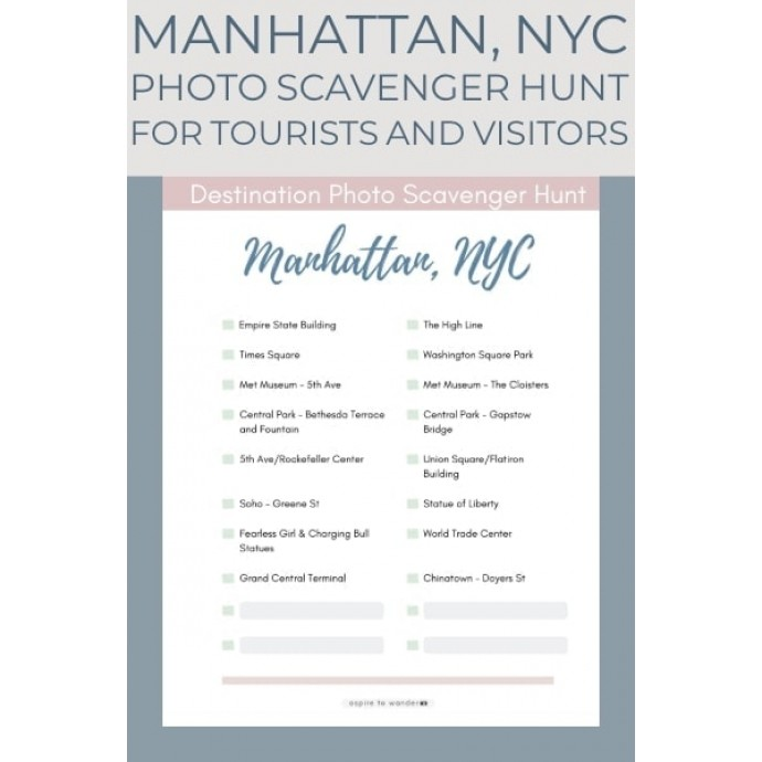 Printable - Photo Scavenger Hunt Manhattan NYC