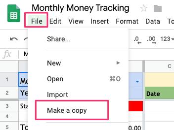Monthly Money Tracking Spreadsheet