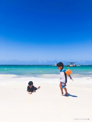 playing on the beach in the Dominican Republic