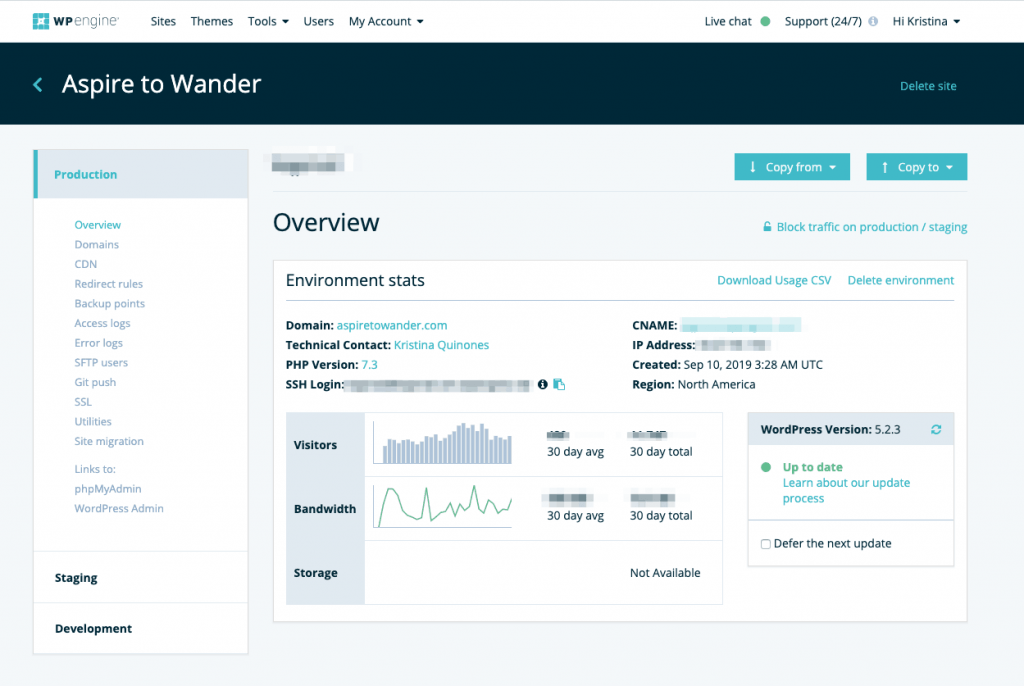 WP Engine User Dashboard